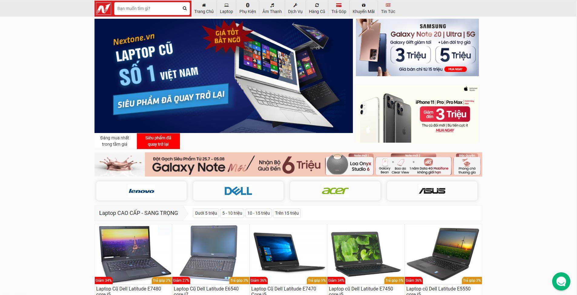 Mẫu web bán Laptop giống Cellphones