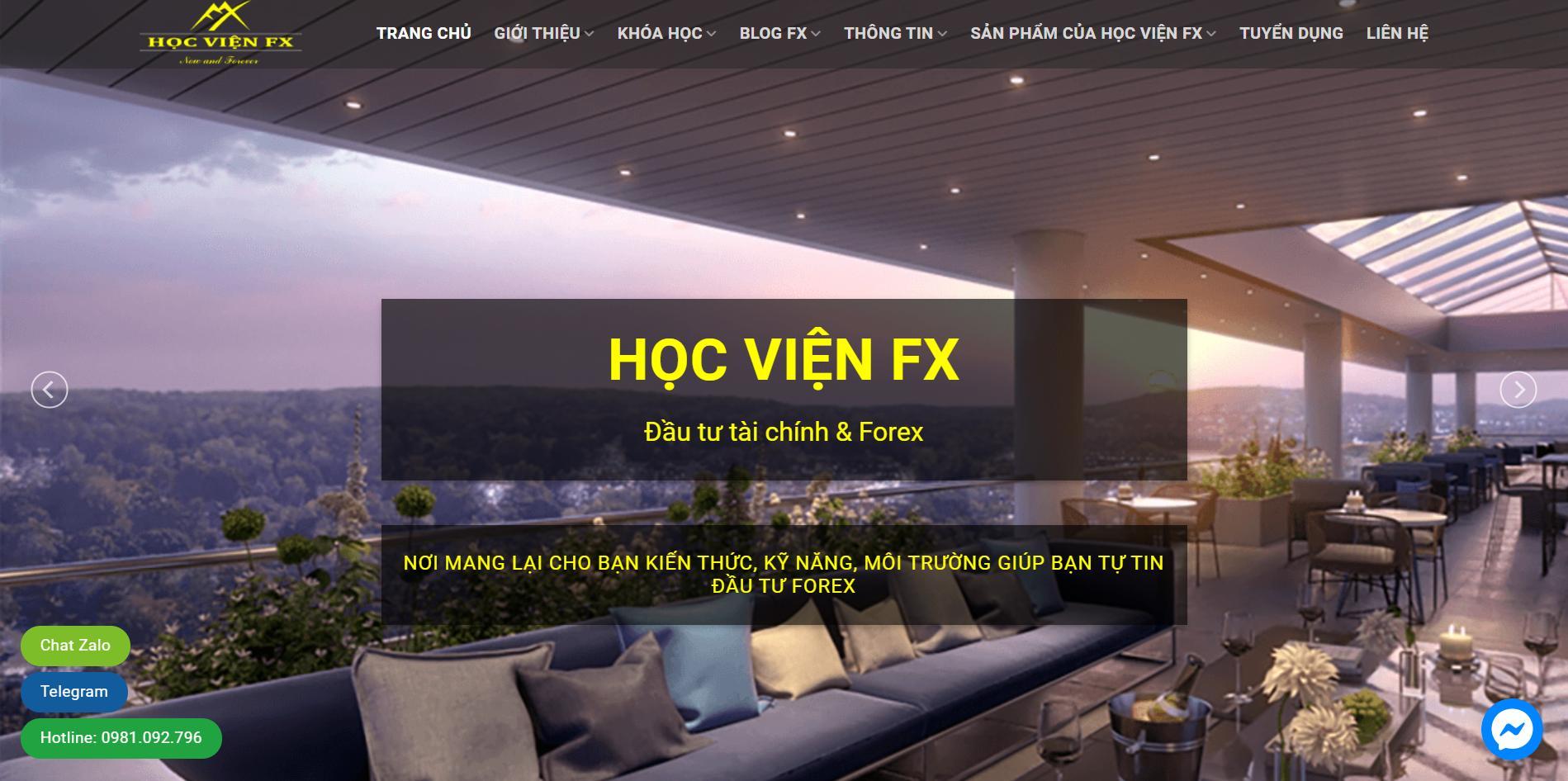 Mẫu web dịch vụ khóa học Forex