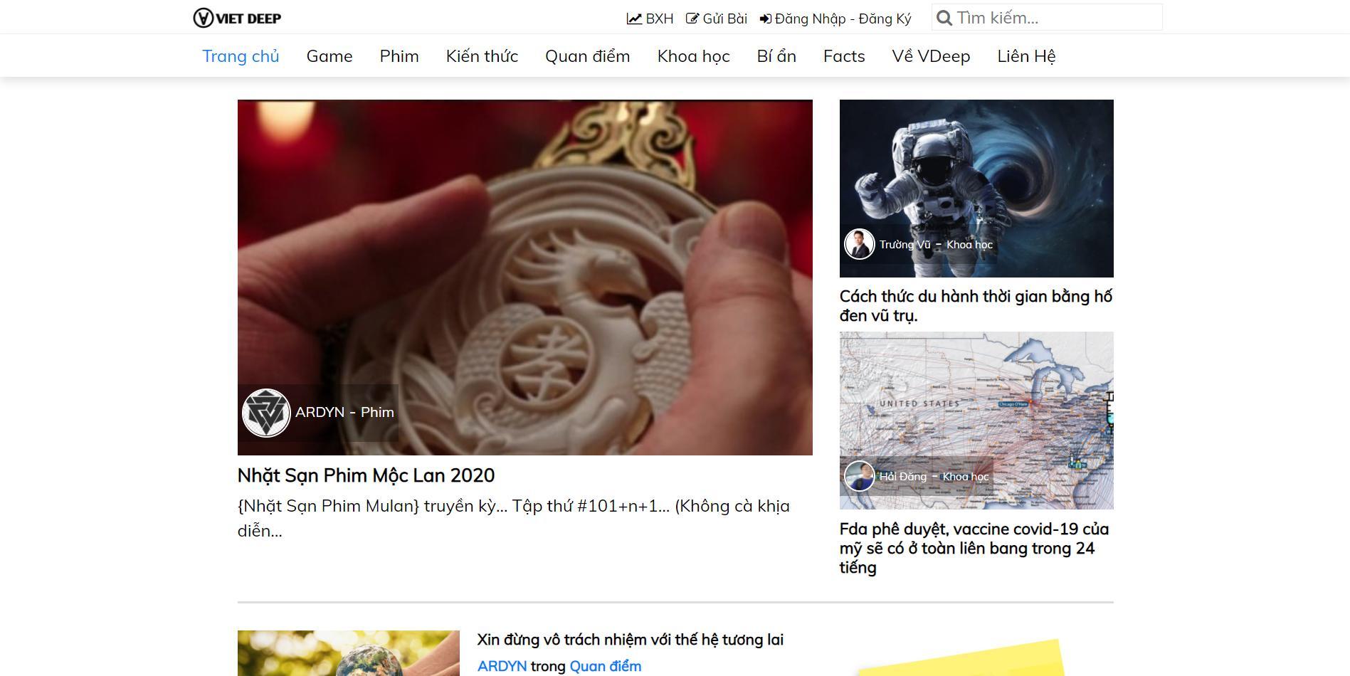 VietDeep – Mẫu web tin tức nâng cao