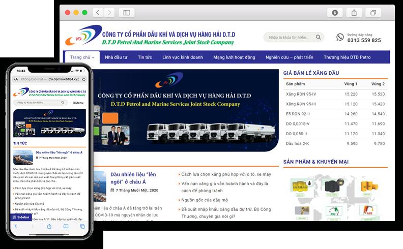 Thiết kế website giới thiệu công ty Dầu khí DTD