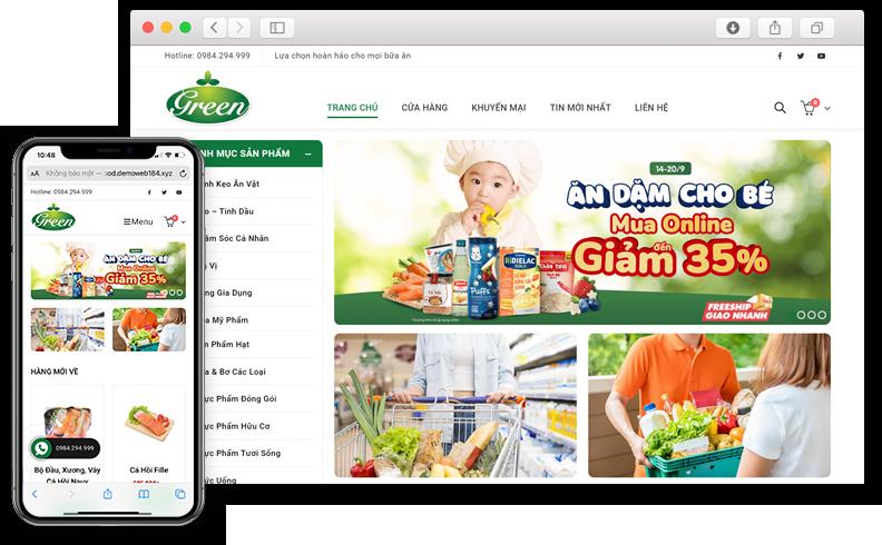 Thiết kế website siêu thị mini Green