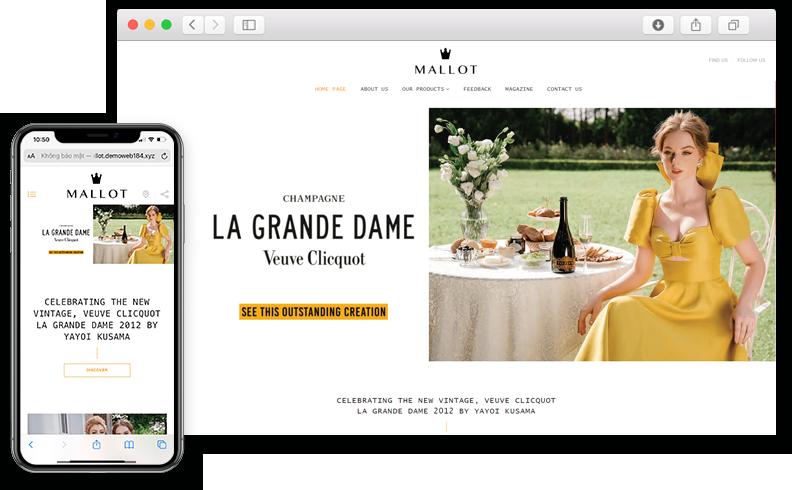 Thiết kế website giới thiệu sản phẩm rượu tại MALLOT