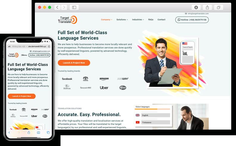 Thiết kế website giới thiệu công ty Target Translate