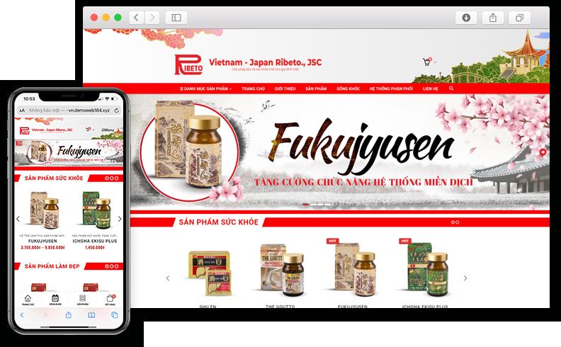 Thiết kế website Bán sản phẩm sức khỏe Ribeto