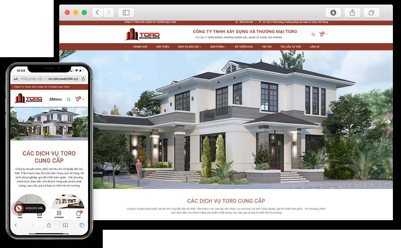 Thiết kế website giới thiệu dịch vụ xây dựng Toro